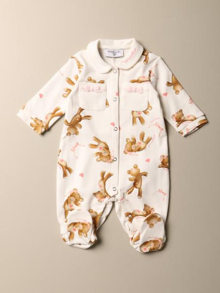 Monnalisa footed jumpsuit in cotton with all-over teddy bears