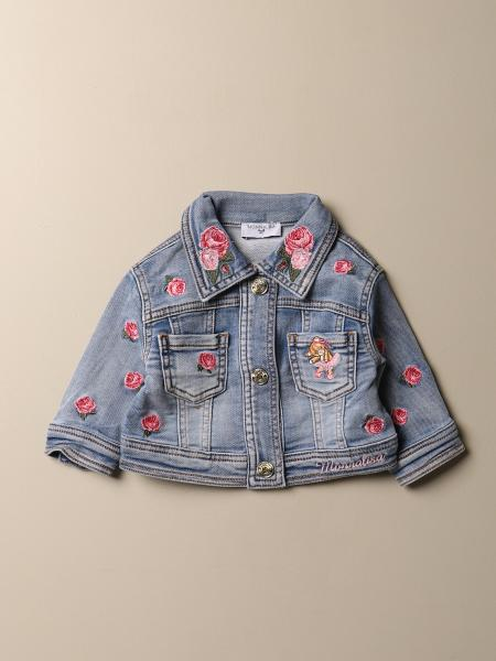 Monnalisa denim jacket with flowers and teddy bear