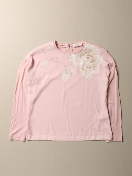 T-shirt Monnalisa in cotone con stampa floreale