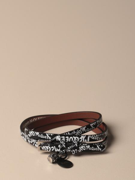 Mcq McQueen leather bracelet with all over logo