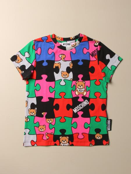 Moschino Kid T-shirt with all-over teddy puzzle print
