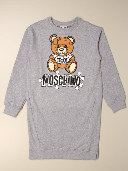 Moschino Kid sweatshirt dress with teddy puzzle logo