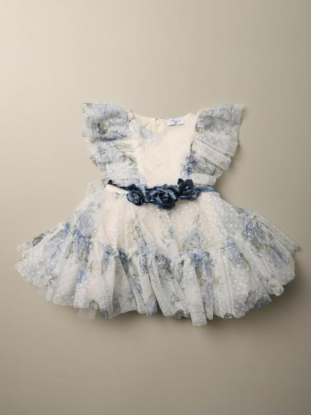 Monnalisa kids: Monnalisa dress in floral patterned point d'esprit tulle