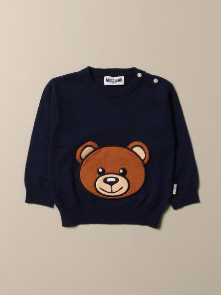 Pull Moschino Baby en laine mélangée avec patch Teddy