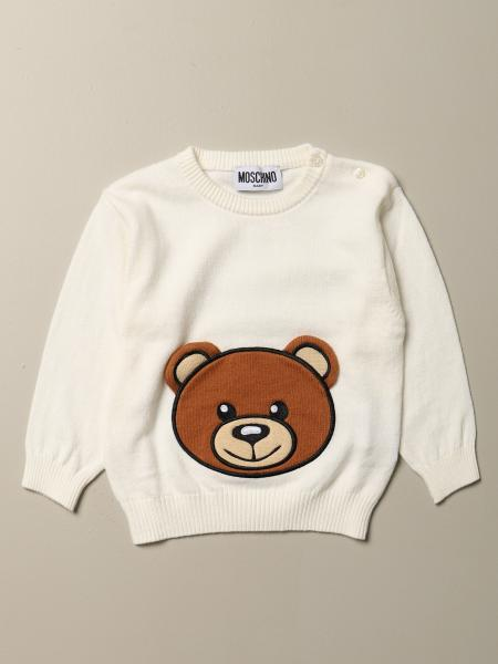 Pullover Moschino Baby in misto lana con patch Teddy