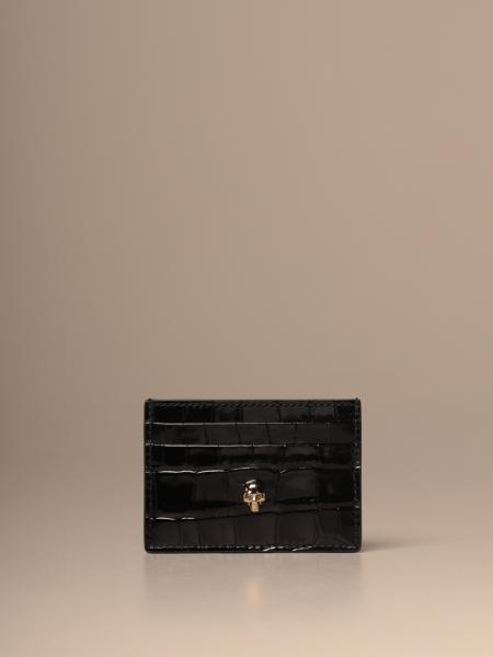 Mcq McQueen credit card holder in crocodile print leather