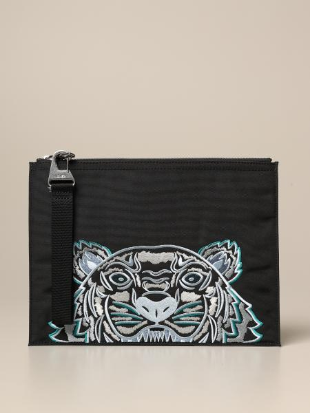 Kampus Kenzo Canvas clutch bag with embroidered Tiger Kenzo Paris logo