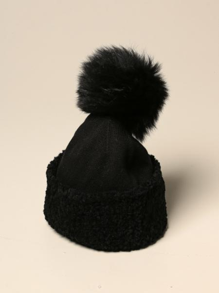 D.exterior hat in cashmere and wool with fur pompon