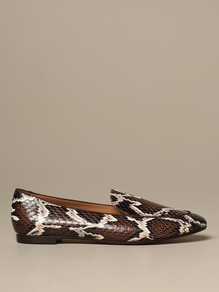 Aquazzura loafer in leather with snake print