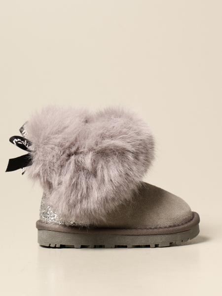 Monnalisa ankle boot in synthetic fur and glitter