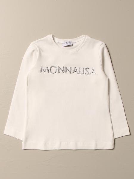 T-shirt Monnalisa in cotone con logo di strass