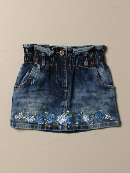 Monnalisa denim skirt with floral embroidery