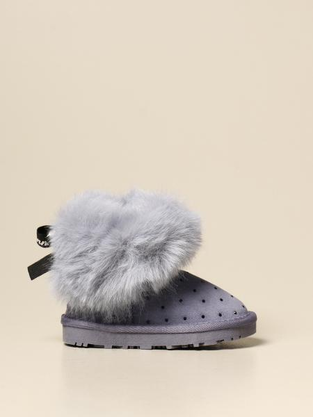 Monnalisa ankle boot in suede with fur