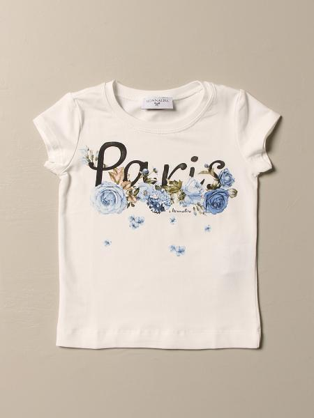 T-shirt Monnalisa in cotone con stampa paris