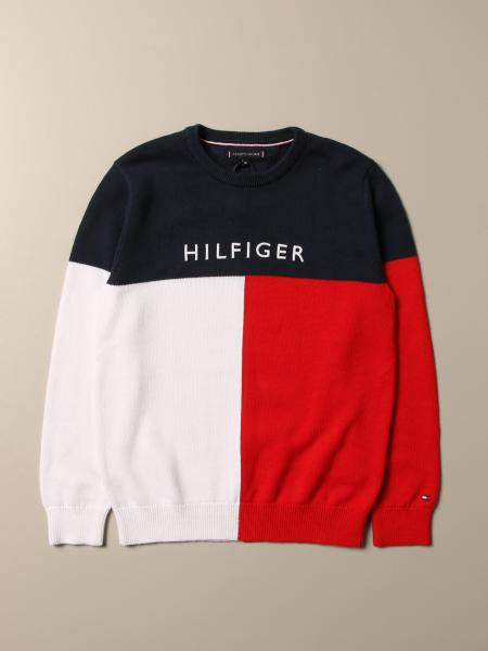 Tommy Hilfiger: Tommy Hilfiger tricolor sweater with logo