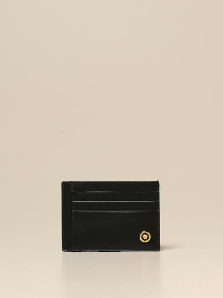 Versace credit card holder in leather with logo