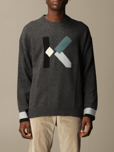 Kenzo: Kenzo wool blend pullover with color block logo