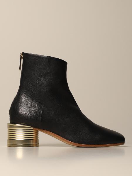 Maison Margiela: Maison Margiela ankle boot in leather with metallic heel