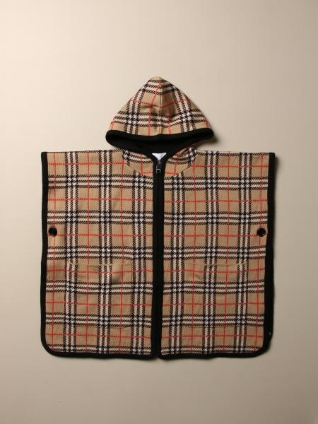 Burberry poncho in Merinos wool with tartan motif