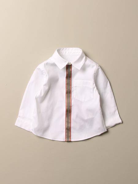 Camicia Burberry in cotone stretch con paramontura a righe