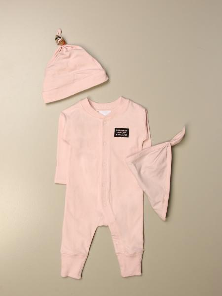 Burberry kids: Burberry jumpsuit + hat + bib set with check detail