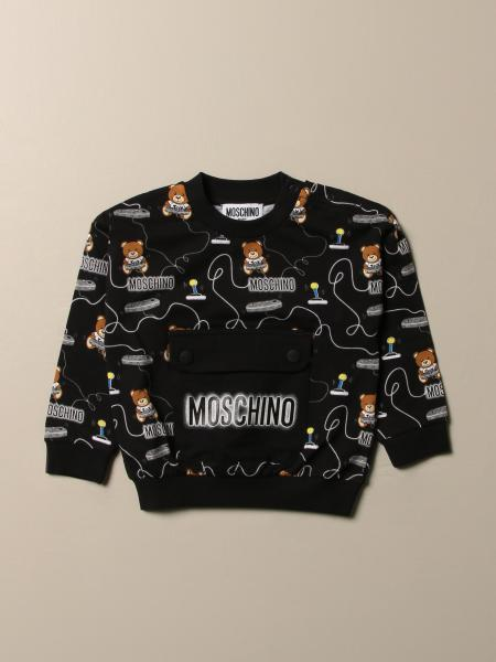Moschino Baby sweatshirt with all over Teddy logo and patch pocket