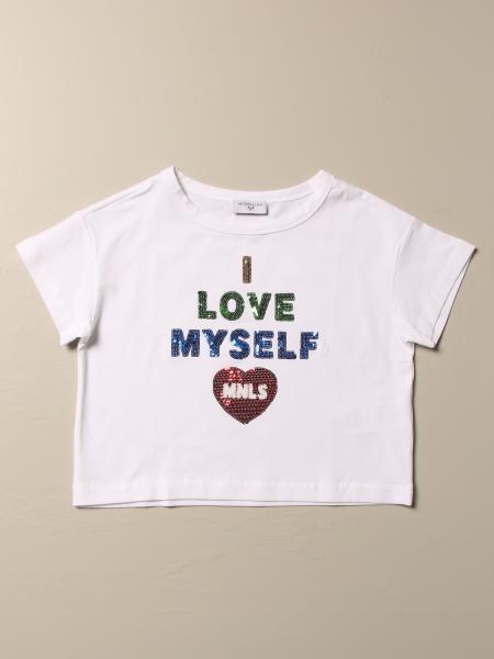 T-shirt Monnalisa in cotone con scritta di paillettes