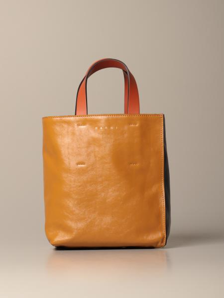 Marni shopping bag in bicolor leather