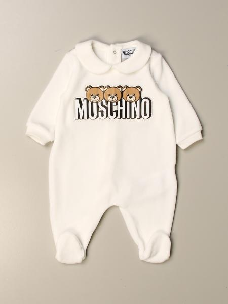 Flannel Moschino Baby footed jumpsuit with Teddy logo
