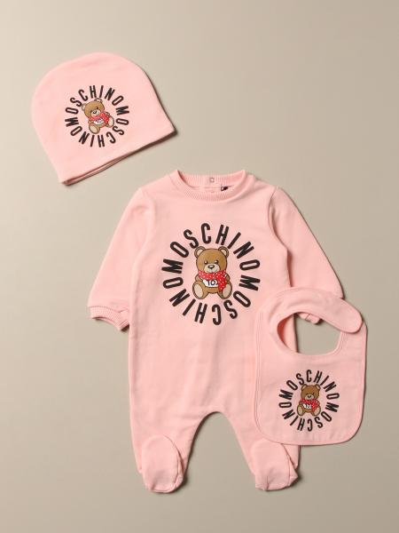 Tutina con piede + cappellino + bavaglino Moschino Baby con logo Teddy