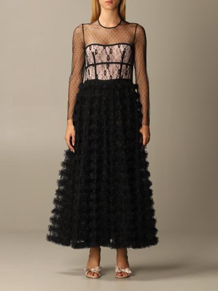 Abito Red Valentino in tulle point d'esprit e pizzo