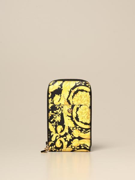 Versace neck wallet in baroque print leather