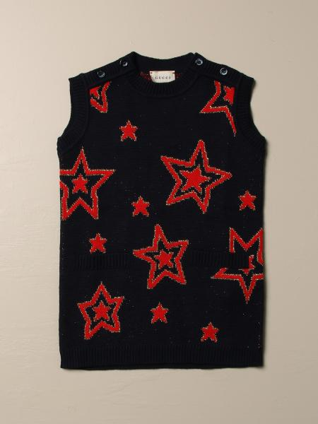 Gucci kids: Gucci wool sweater with stars and logo