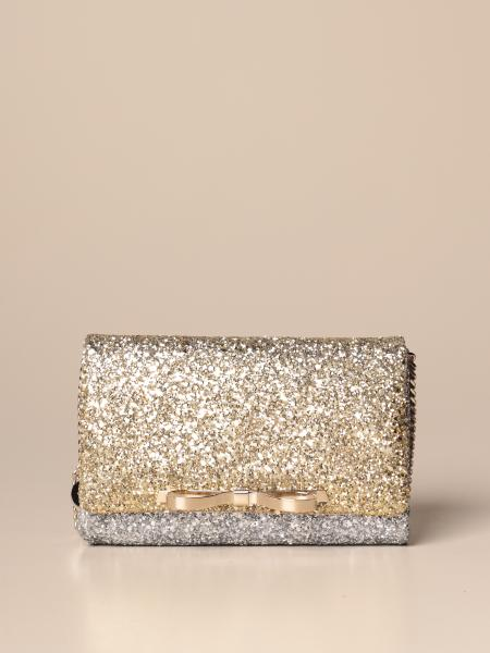 Red (V) glitter shoulder bag with bow