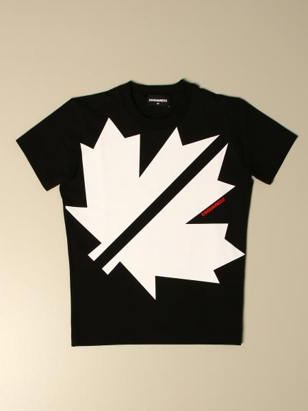 T-shirt Dsquared2 Junior in cotone con stampa foglia d'acero