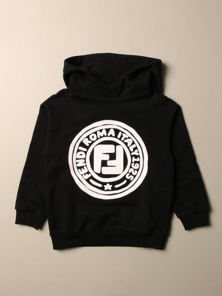 Fendi kids: Fendi hooded sweatshirt with Fendi Roma 1925 logo