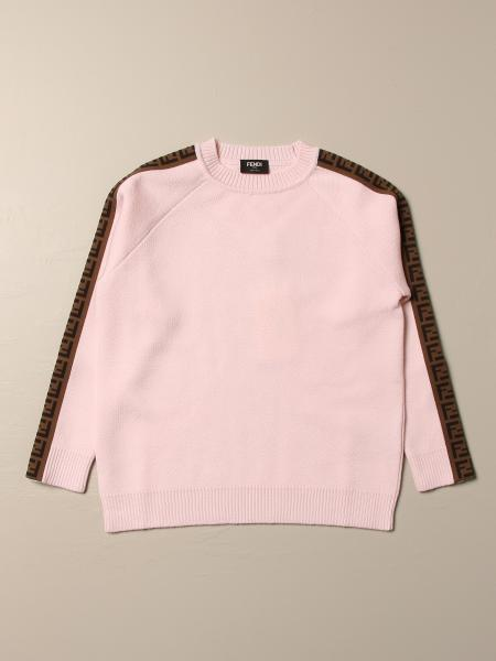 Fendi kids: Fendi crewneck sweater with all over FF bands