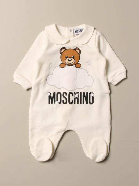 Moschino Baby footed romper with Teddy cloud logo