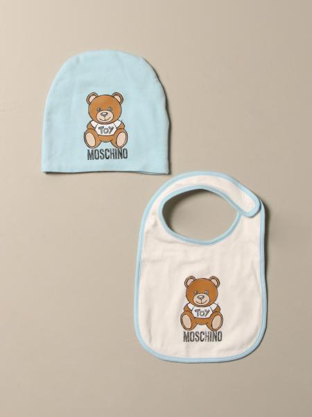 Set cappello + bavaglino Moschino Baby in cotone con Teddy