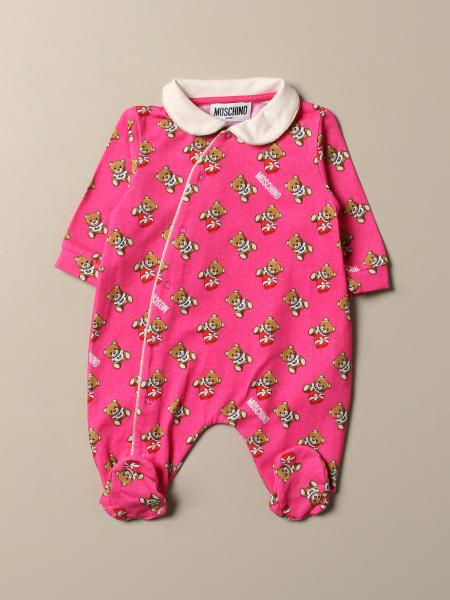 Moschino Baby footed jumpsuit with all-over Teddy logo