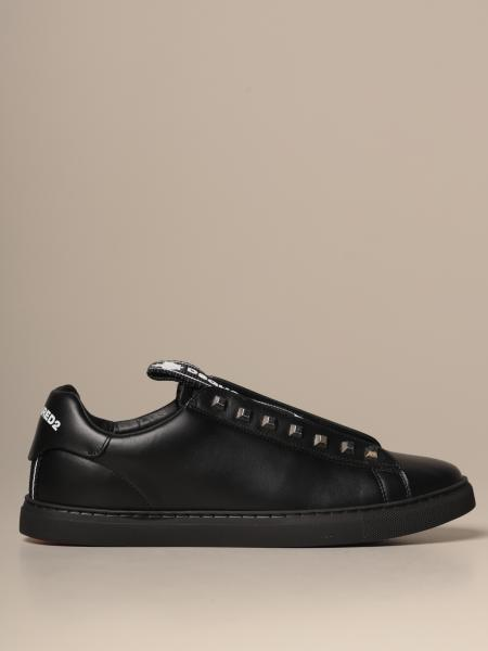 Dsquared2 sneakers in leather with big logoed band and studs