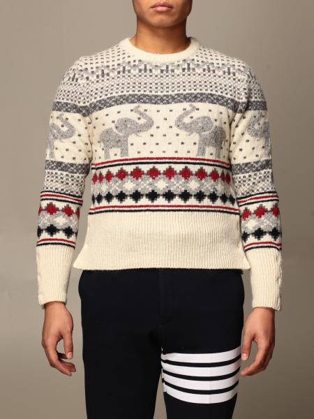 Thom Browne crewneck sweater with jacquard pattern