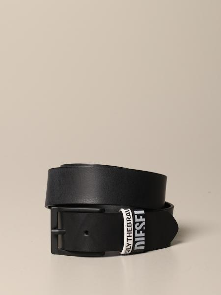 Diesel belt in genuine leather with printed loops