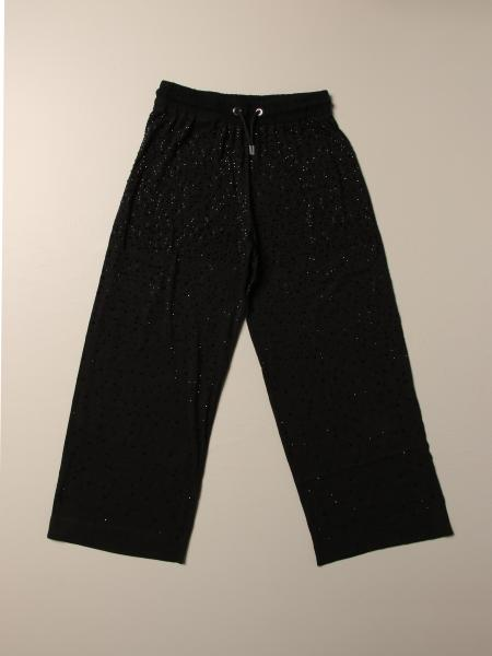 Wide Diesel jogging trousers with all-over micro rhinestones