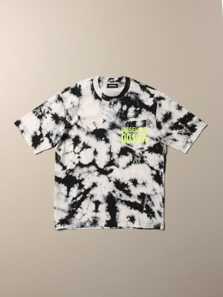 Diesel cotton t-shirt with logo and tie-dye print