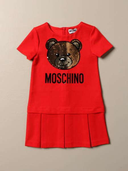Moschino Kid dress with sequin teddy logo
