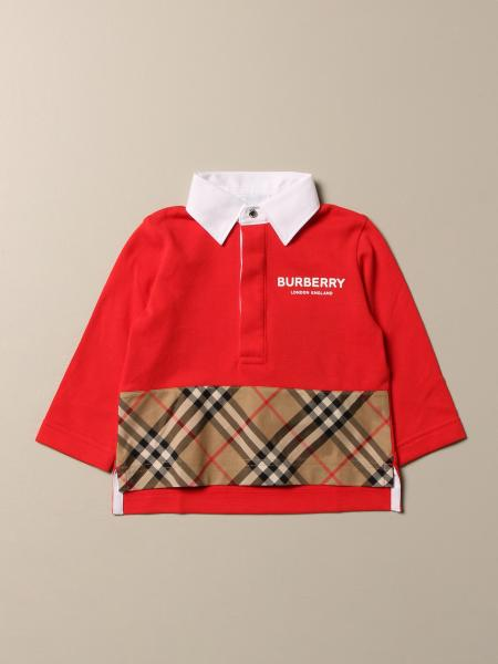 Burberry cotton polo shirt with check band