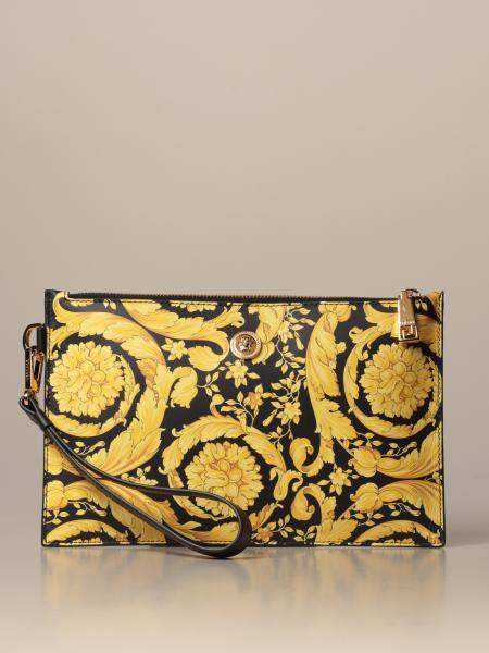 Versace clutch bag in leather with baroque print