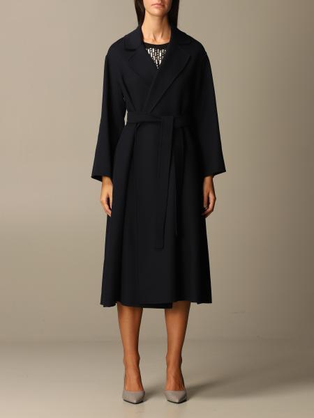 S Max Mara: Cappotto a vestaglia S Max Mara in lana vergine