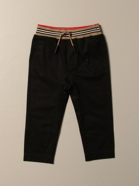 Pantalone jogging Burberry in cotone con fascia a righe